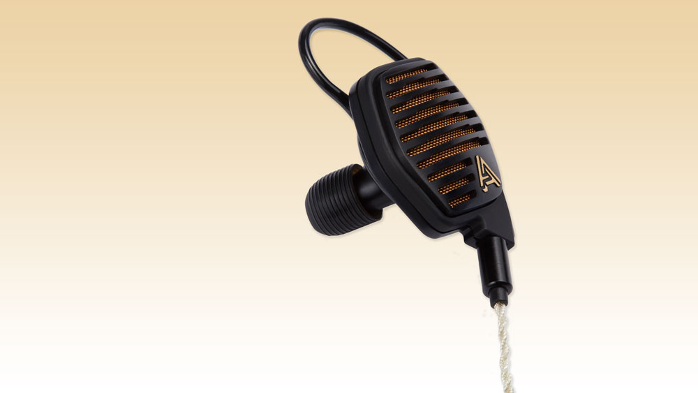 Angled view of Audeze LCDi4 planar magnetic earbud