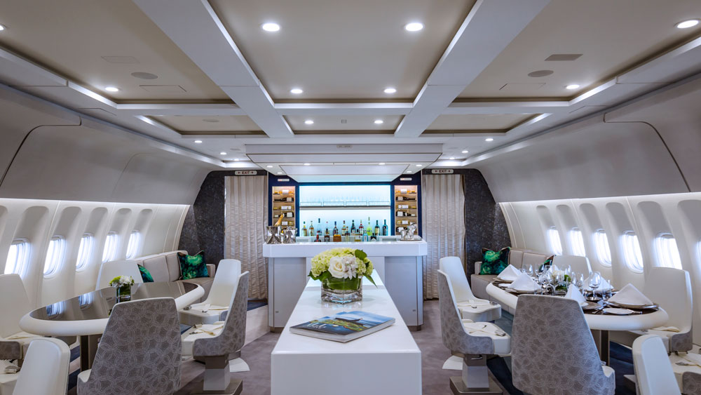 Crystal Skye interior of the jet showcasing the dining area.