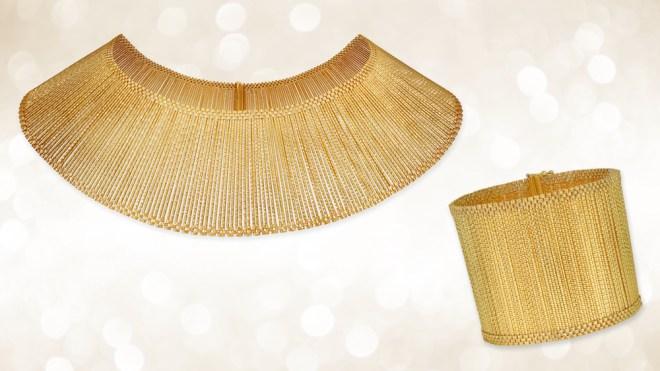 Gold bracelet and bib necklace
