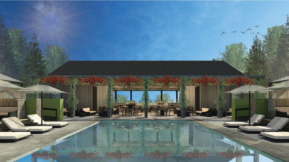 Rendering of the upper-pool bar and cafe meadowood napa valley