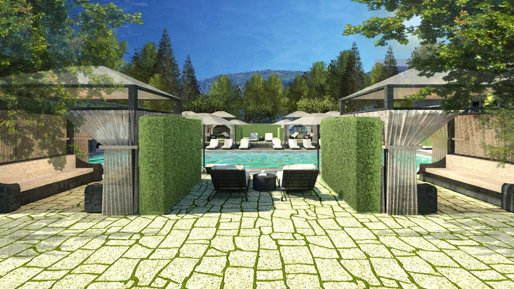 Rendering of the upper pool at the hotel napa valley meadowood