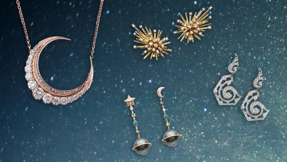 Cosmically inspired jewelry from Jacquie Aiche, David Yurman, Bibi van der Velden, and Mindi Mond