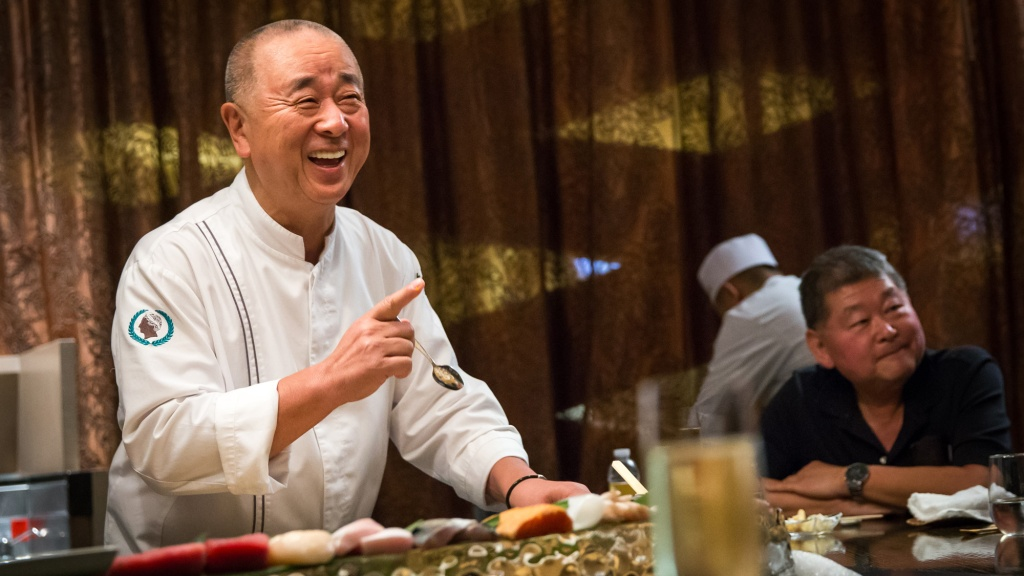 Chef Nobu Matsuhisa preparing sushi in Vegas