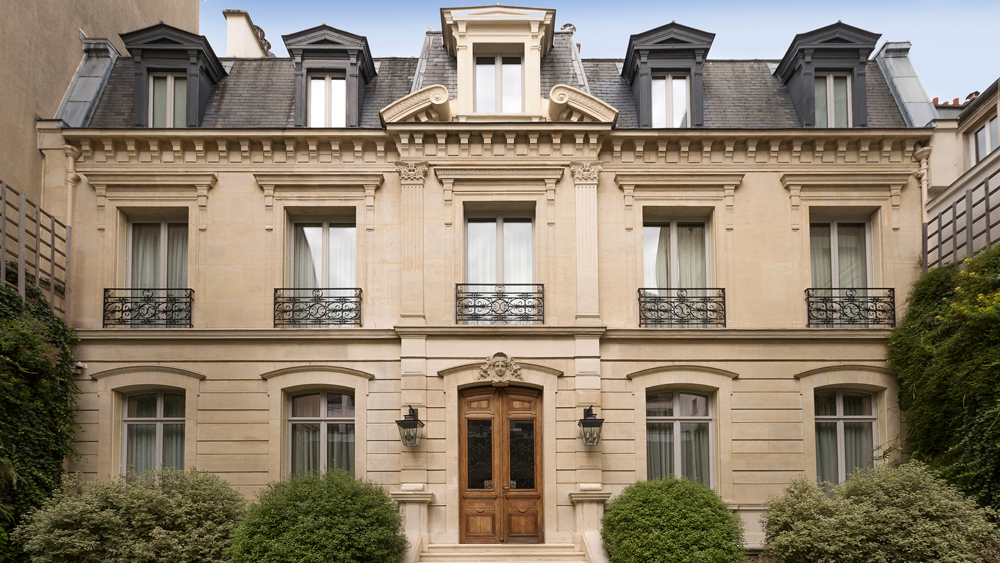The Renovated Parisian townhouse on Rue Crillon exterior of mansion.