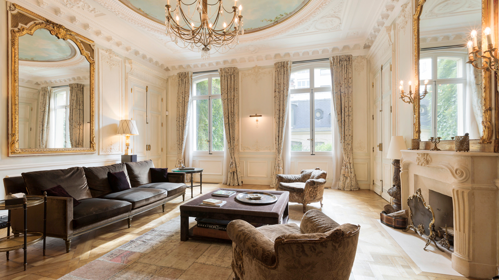 The living space in the townhouse on Rue Crillon, Paris.