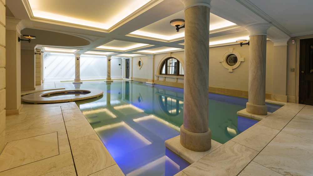 The indoor pool in the townhouse on Rue Crillon, Paris.