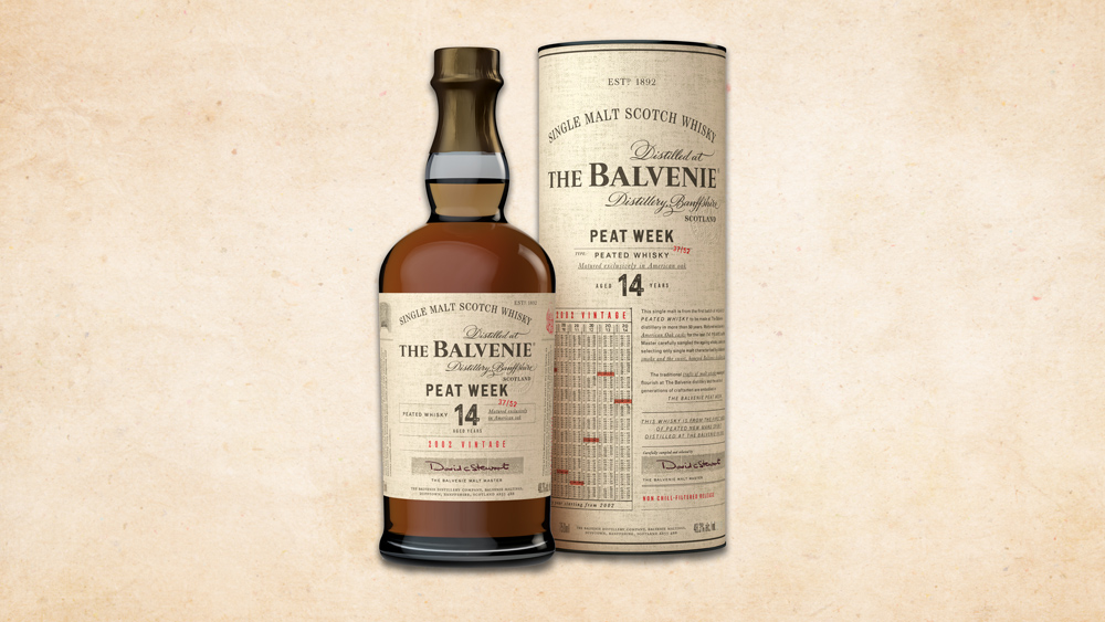 bottle and tube of Balvenie Peat Week 2002 Vintage Whisky