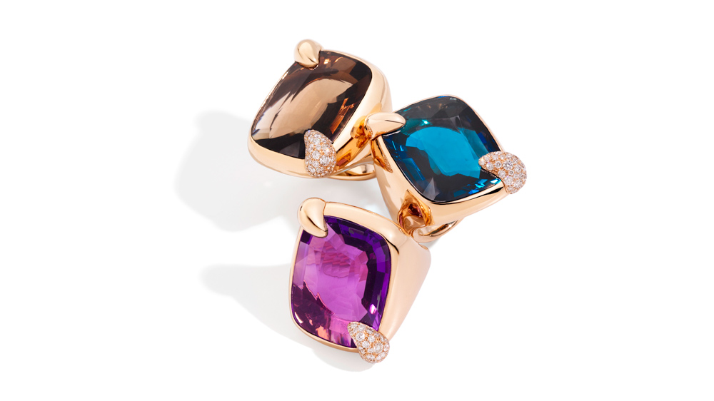 Pomellato Ritratto topaz and amethyst cocktail rings