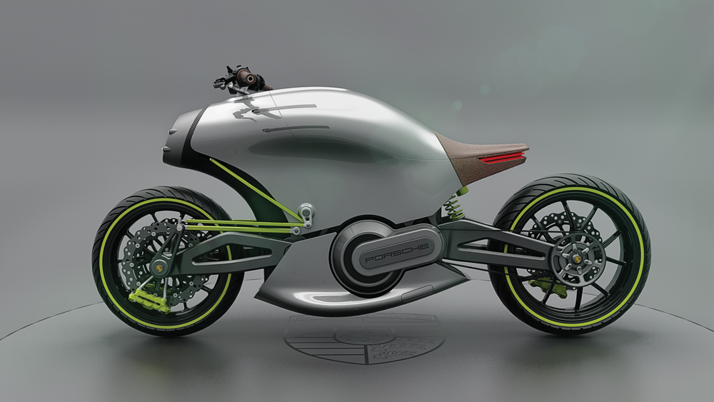 the Porsche 618 motorcycle concept side view