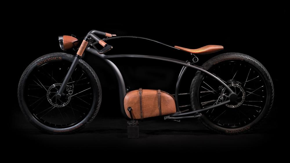 full-size image of the Avionics V1 e-bike against black