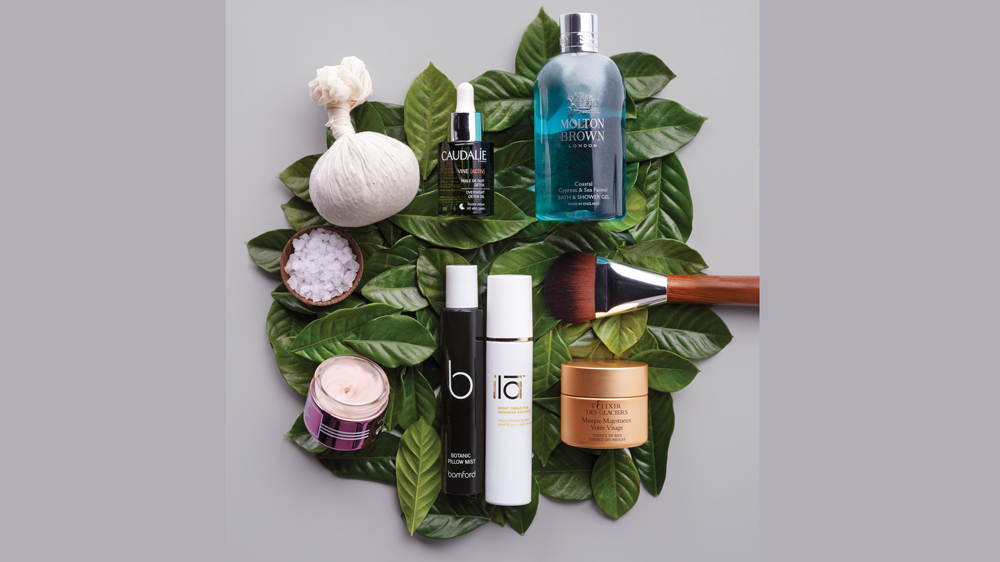 Skincare products for the face: Caudalie, ila, molton brown