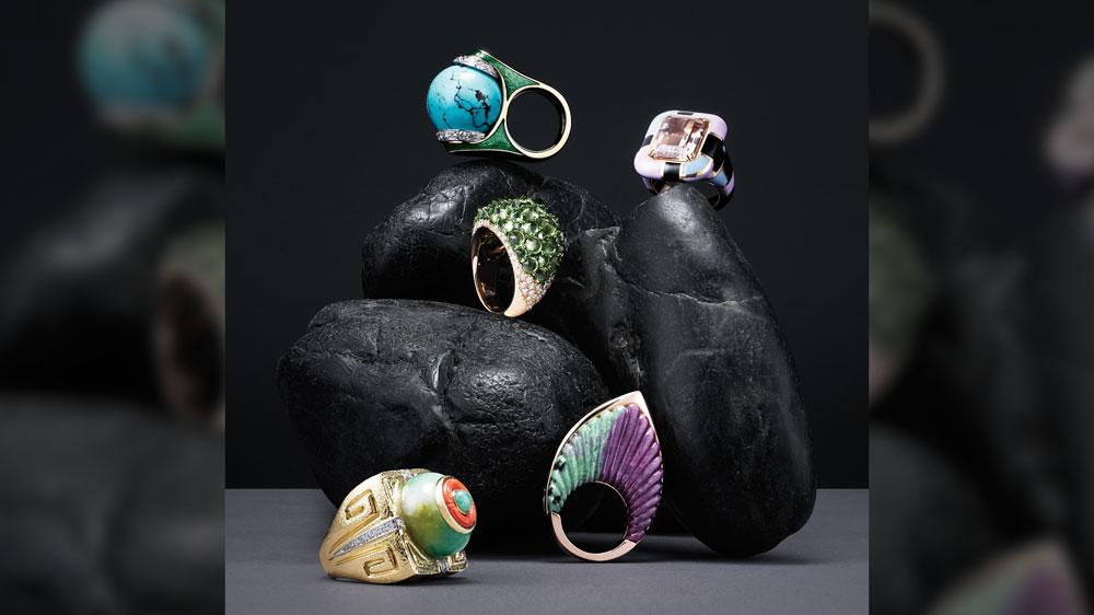Designer rings: david webb, mattioli, tito pedrini