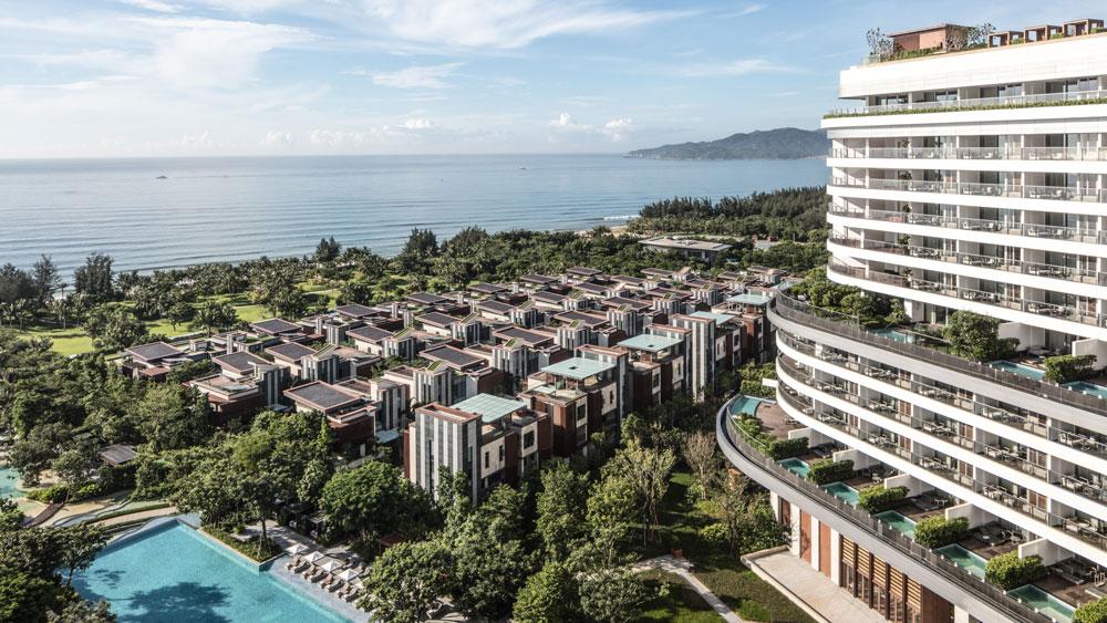 Exterior of Rosewood Sanya resort overlooking the sea