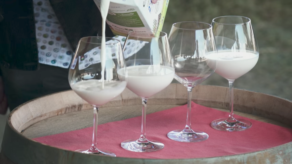 Milk poured into wine glasses for tasting