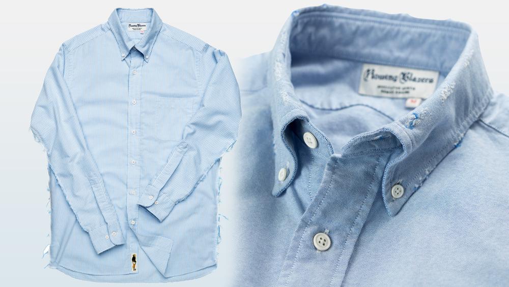 Blue-stripe shirt.