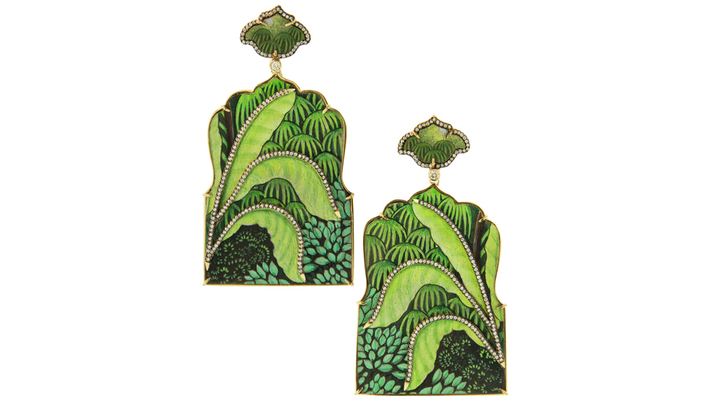 Silvia Furmanovich hand-painted green wood and diamond earrings