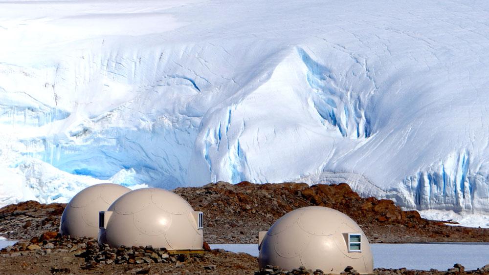 Sleeping pods ice fall antarctica