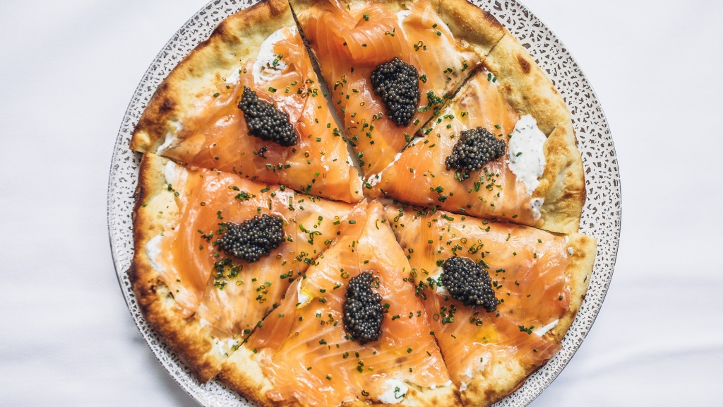 smoked salmon pizza with caviar at spago