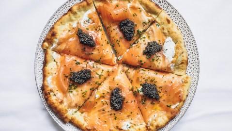 smoked salmon pizza with caviar at spago