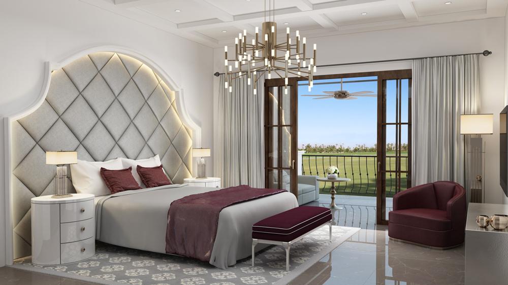 art-deco bedroom rendering of St. Regis resort Dubai