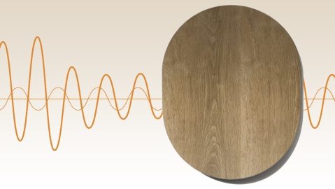 Room One Surface wall-mounted Bluetooth speaker with sound wave background