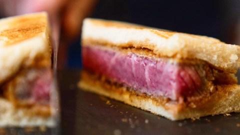 Wagyu steak sandwich with white bread
