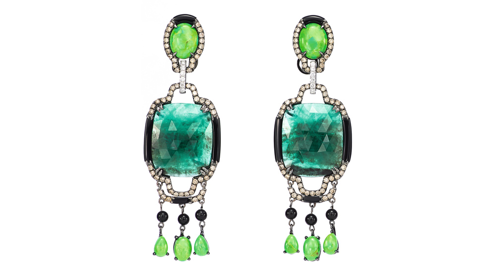 White-gold earrings with green gems from Wendy Yue