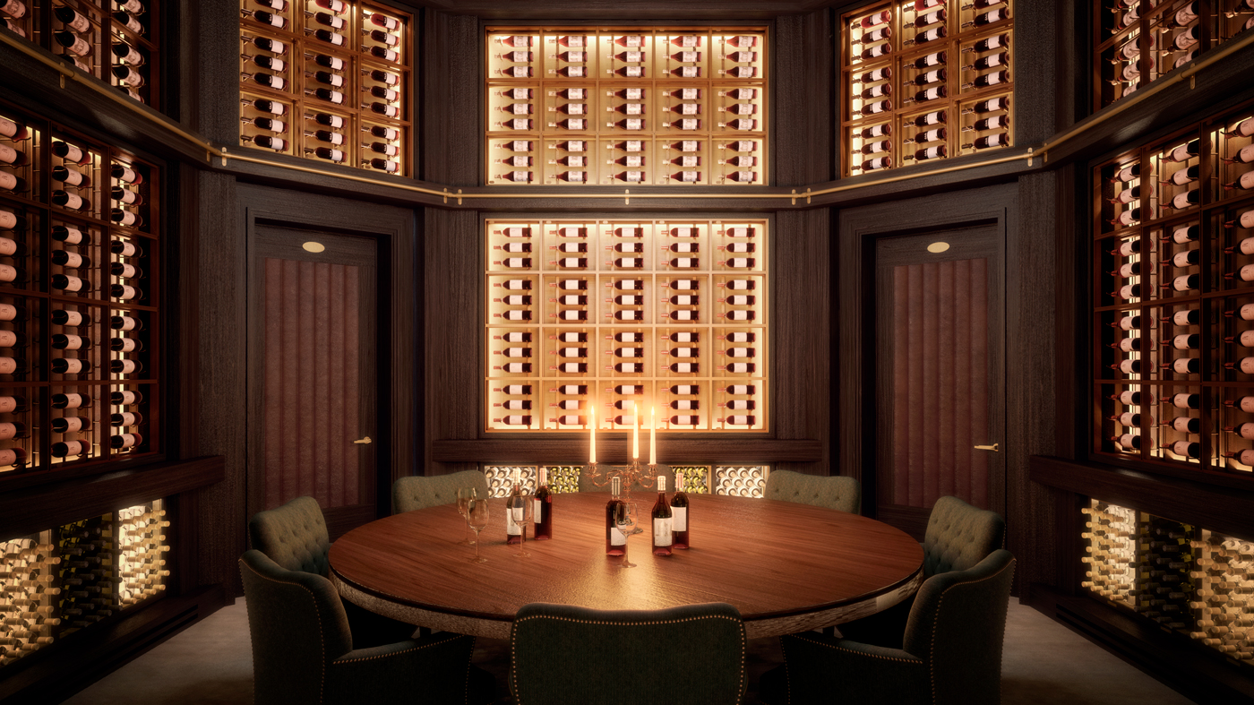 53W53 Octagonal double-heightwine room with a tasting area