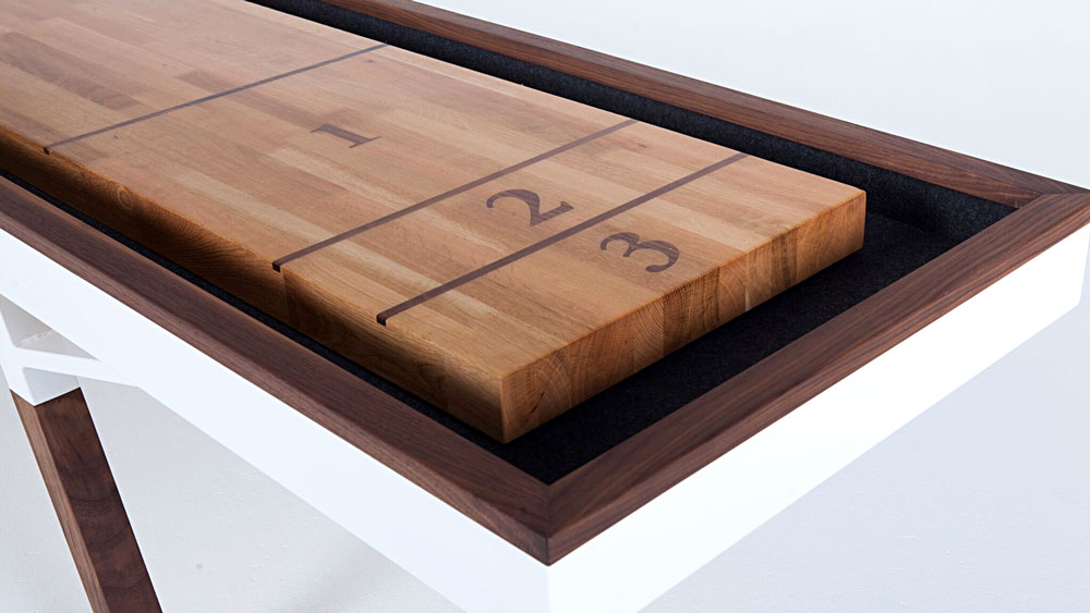 Woolsey Shuffleboard Table, white oak with inlaid black walnut