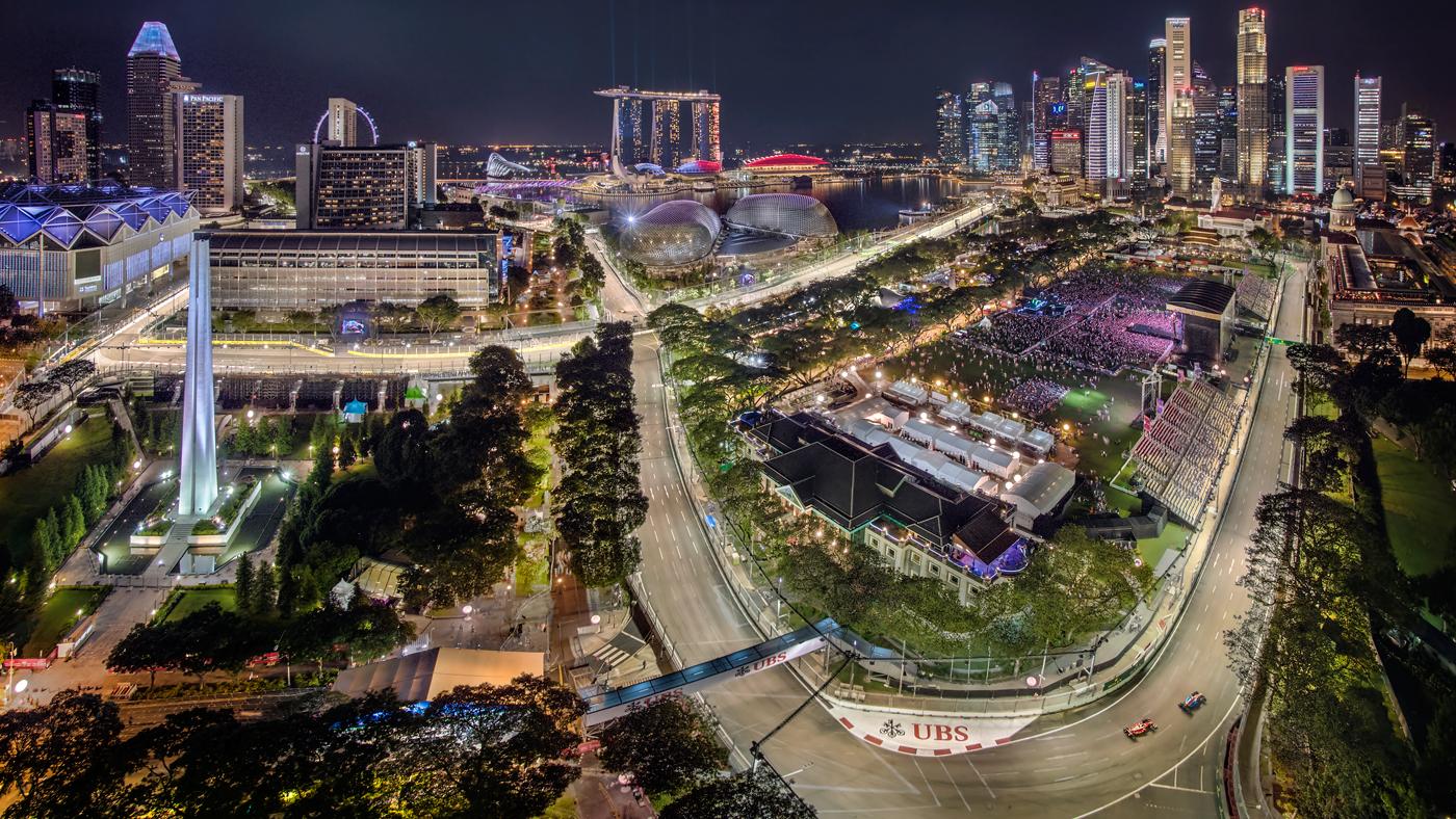 A bird's-eye view of Singapore's Marina Bay Street Circuit.