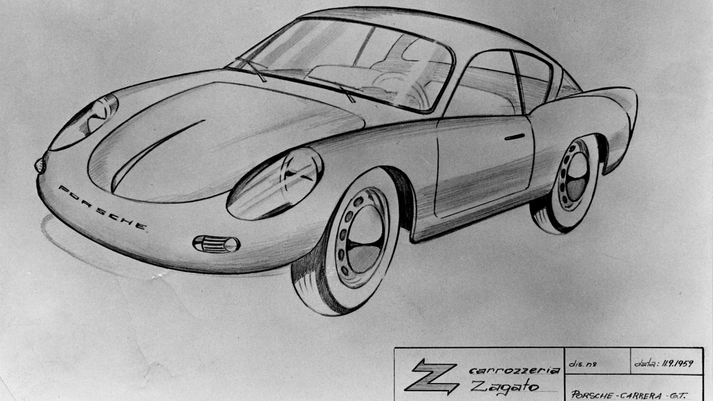 A design sketch of the Porsche 356 Carrera by Zagato that dates back to 1959.