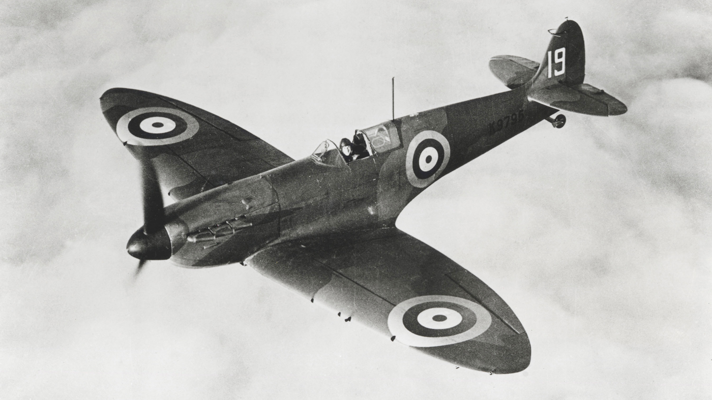 A Supermarine Spitfire aircraft in the 1940s.