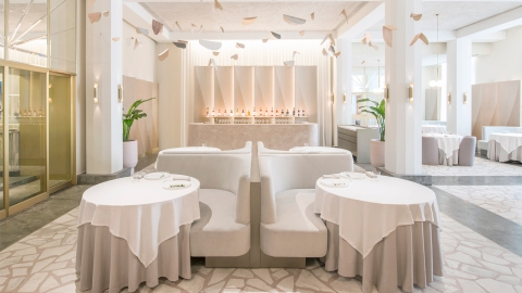 The elegant ambiance of Odette restaurant in Singapore.