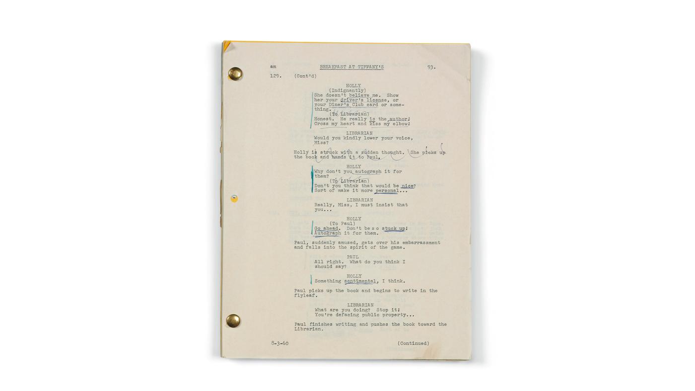 Audrey Hepburn Breakfast at Tiffany's Script