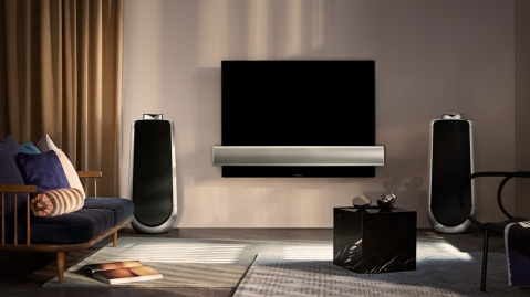 Bang & Olufseon BeoVision Eclipse flanked by BeoLab 50 speakers in living room setting