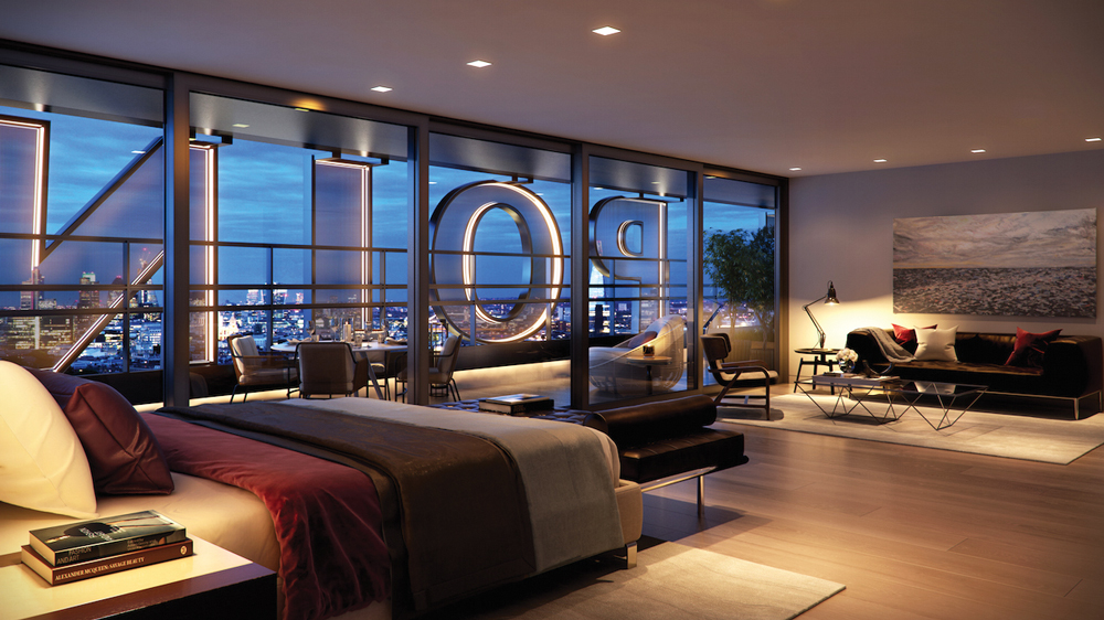 Centre Point London Interior of bedroom with city views