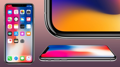 Apple iPhone X front, flat, and corner view
