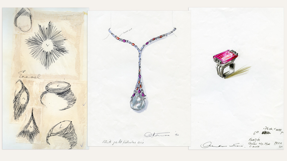 Watch, necklace, and ring sketches by Andrew Grima