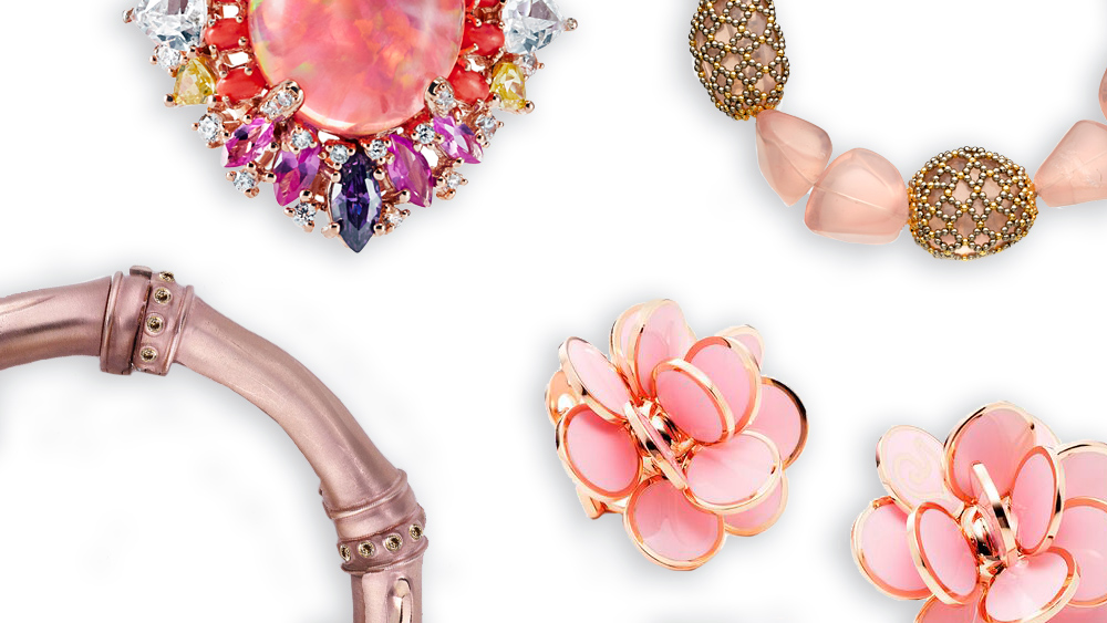 Pink rings, bracelets, and necklaces