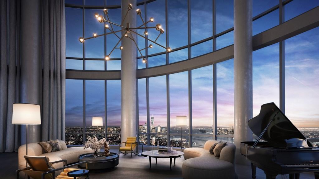 floor-to-ceiling glass windows overlooking NYC