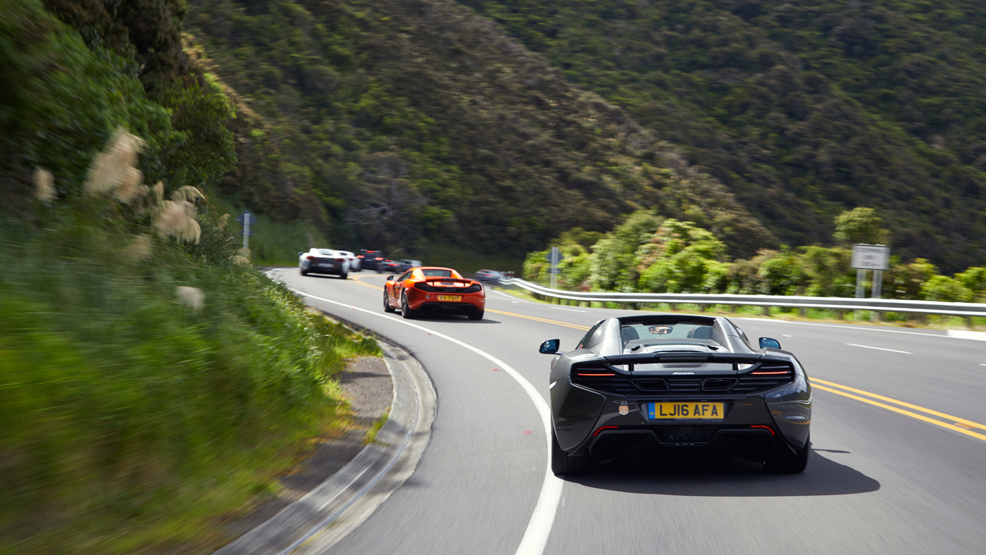 McLarens meandering through the mountainous South Island of New Zealand.