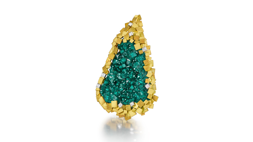 Dioptase pendant by Andrew Grima