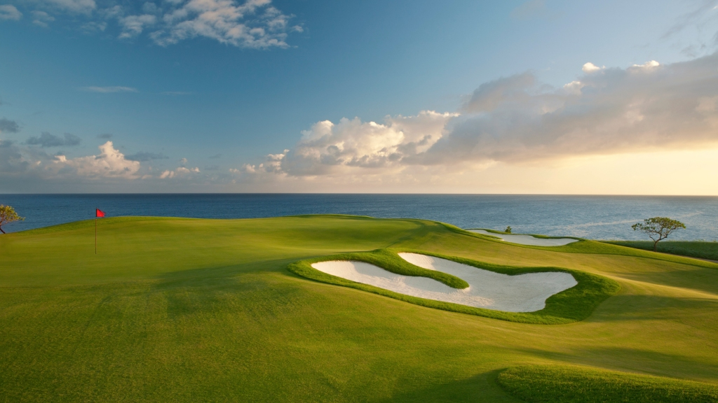 golf course by ocean