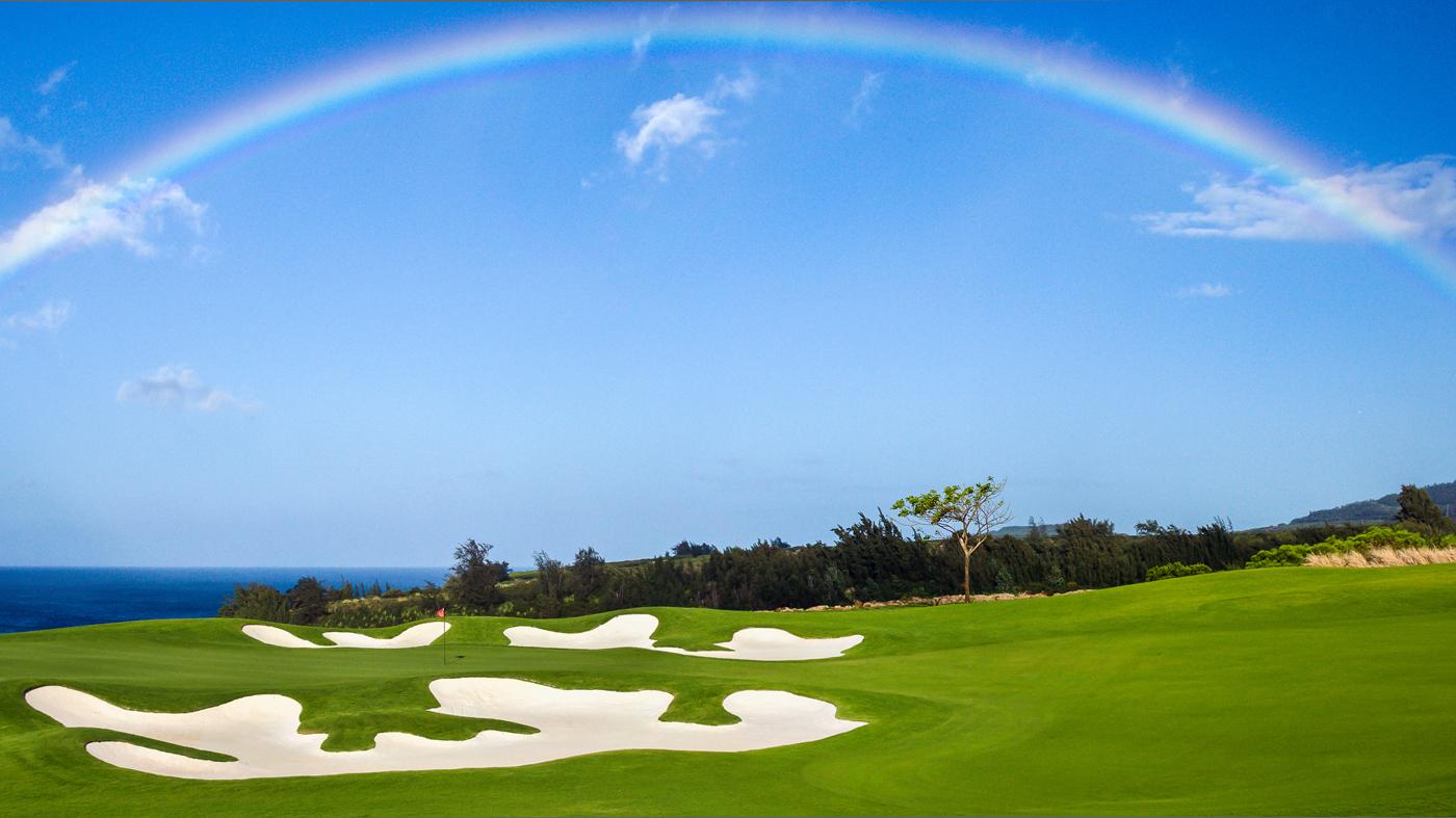 golf course, rainbow