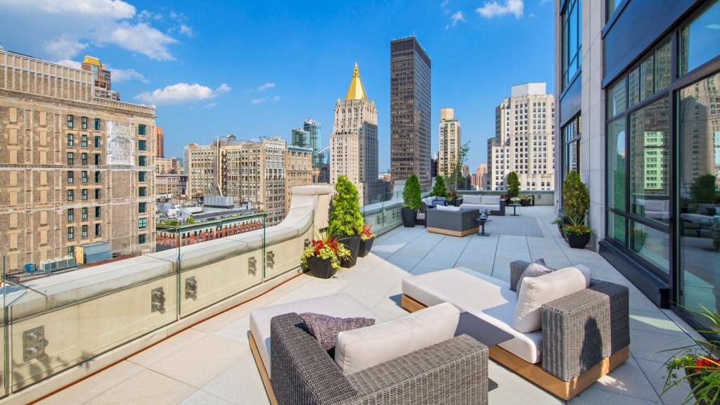 terrace overlooking New York City