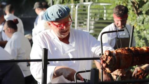 Francis Mallmann carving pork