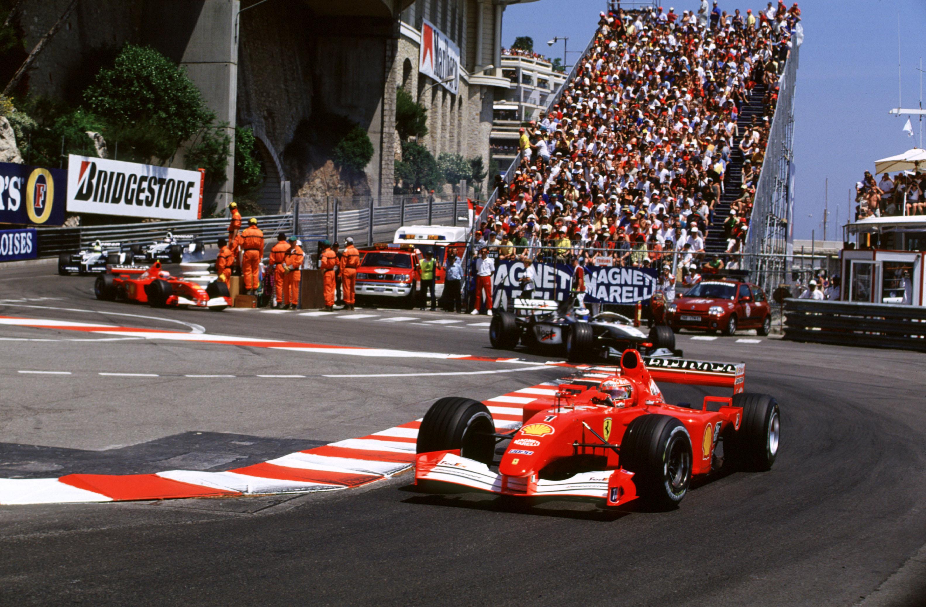 Michael Schumacher and his Ferrari on the way to victory at the 2001 Grand Prix de Monaco.