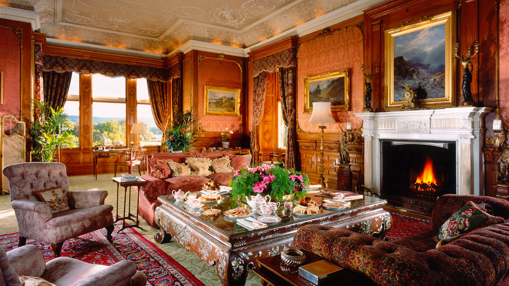 Drawing Room with tea at Skibo Castle