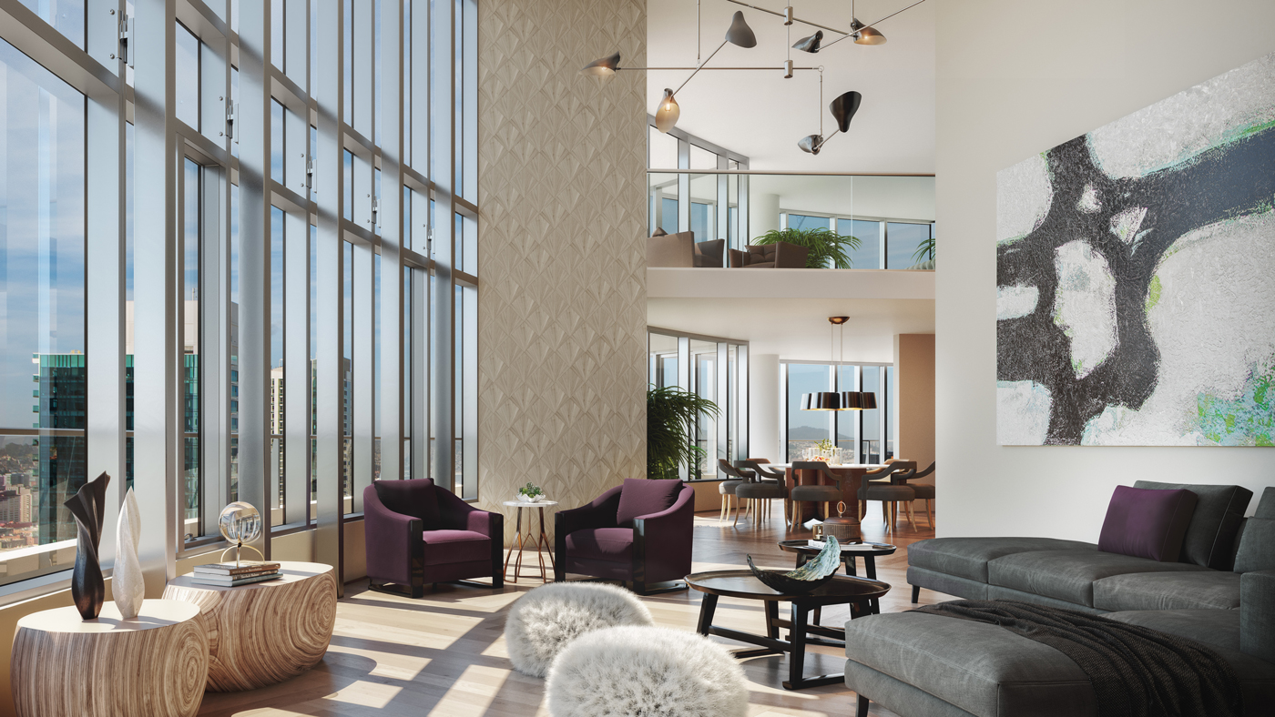 double-height ceilings in penthouse