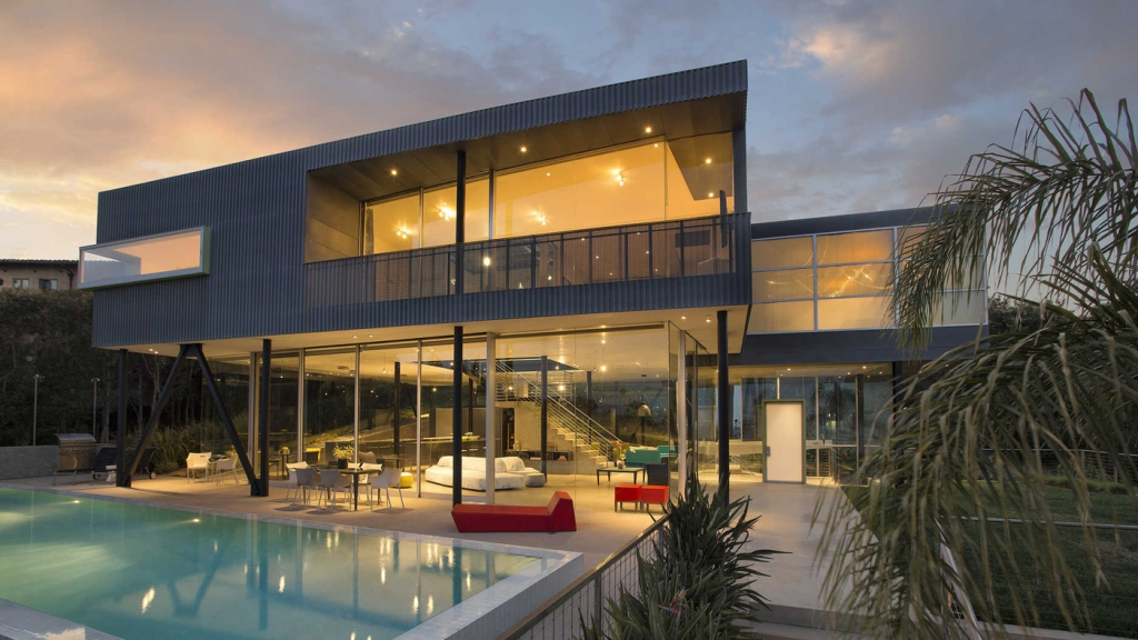 Glass and steel two-story home